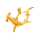 14k gold 30mm hammerhead shark charm pendant