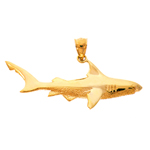 14k gold 46mm shark charm pendant