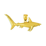 14k gold big shark charm pendant