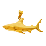 14k gold 45mm shark charm pendant