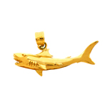 14k gold wild shark with teeth charm pendant