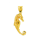 14kt gold 3d seahorse charm