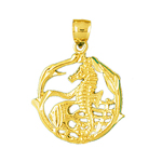 14k gold seahorse with angelfish accent charm pendant