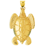 14k gold 40mm long sea turtle charm pendant