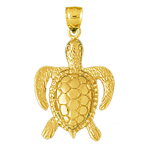 14k gold 26mm long sea turtle charm pendant