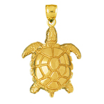 14k gold sea turtle sealife charm pendant