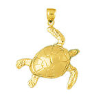 14k gold 24mm long sea turtle charm pendant