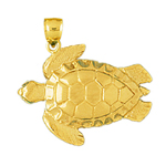 14k gold 28mm sea turtle charm pendant