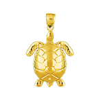 14k gold 15mm long sea turtle charm