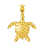 14k gold 22mm long sea turtle charm pendant
