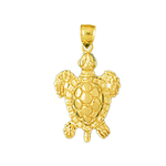 14k gold 18mm long sea turtle charm