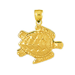 14k gold sea turtle charm