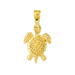 14k gold sealife turtle charm