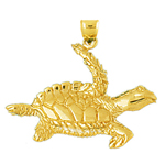 14k gold ventral view sea turtle charm pendant