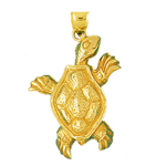 14k gold sea life turtle charm pendant
