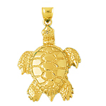 14k gold sea life 25mm long turtle charm pendant