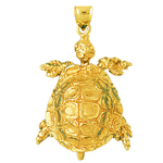 14k gold moveable 3d sea turtle charm pendant