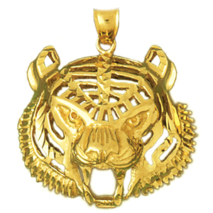 14k gold tiger head pendant