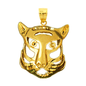14k gold caricature tiger head charm pendant