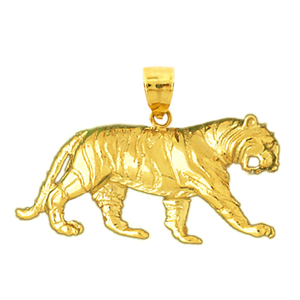 14k gold 38mm tiger charm pendant
