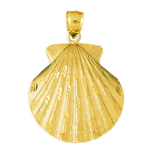14k gold scallop shell charm pendant