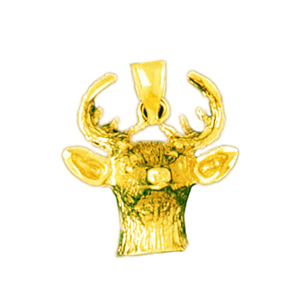 14k gold deer face pendant