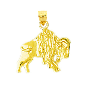 14k gold aggressive bison charm