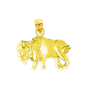 14k gold small bison charm