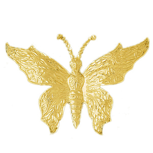 14k gold 58mm butterfly charm pendant