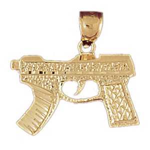 14k gold machine gun pendant