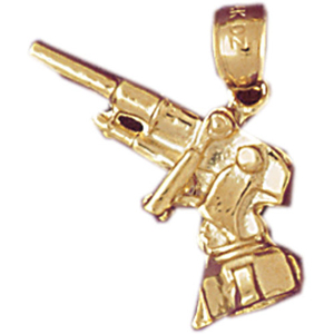 14k gold 3d machine gun charm