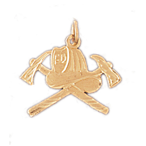 14k gold fire department insignia charm