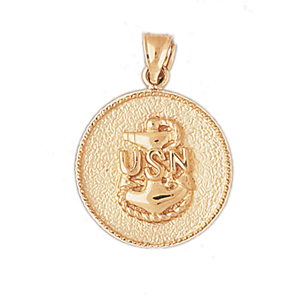 14k gold us navy seal pendant