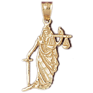 14k gold lady of justice charm pendant