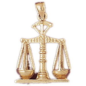 14k gold scales of justice charm pendant