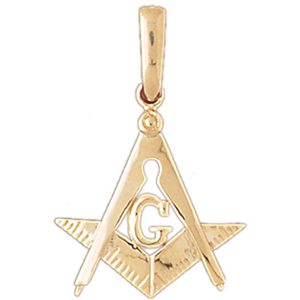 14k gold freemason masonic pendant