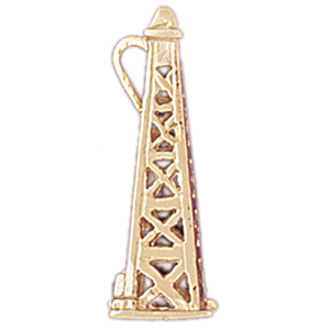 14k gold 3-d oil rig pendant