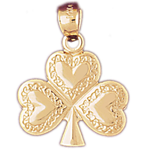 14k gold irish lucky clover with hearts pendant
