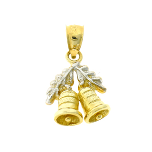 14k two tone gold 3d christmas bells charm