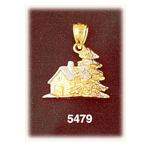 14k two tone gold 3d christmas house charm