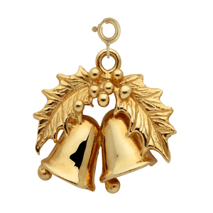 14k gold holly christmas bells pendant