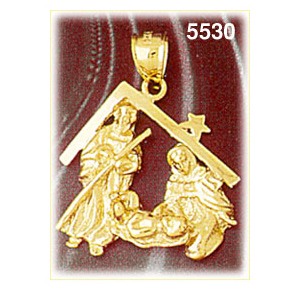 14k gold nativity pendant