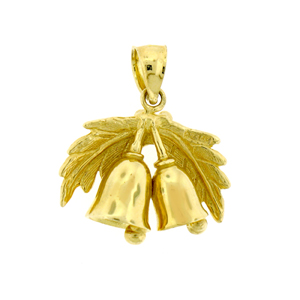 14k gold 3d christmas bell with holly charm