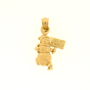 14k gold 3d snowman with let it snow sign charm