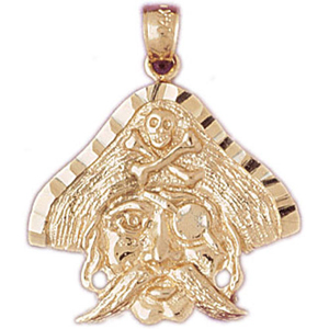 14k gold pirate pendant