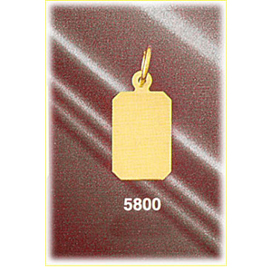 "14k gold 5/8"" hand cut rectangle engravable tag charm"