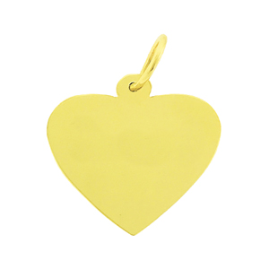 "14k gold 3/4"" engravable heart disc pendant"