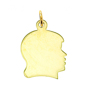 "14k gold engravable 3/4"" girl face disc pendant"