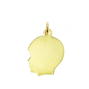 "14k gold engravable 3/4"" boy face disc pendant"