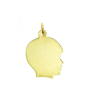 "14k gold engravable 5/8"" boy silhouette head disc charm"